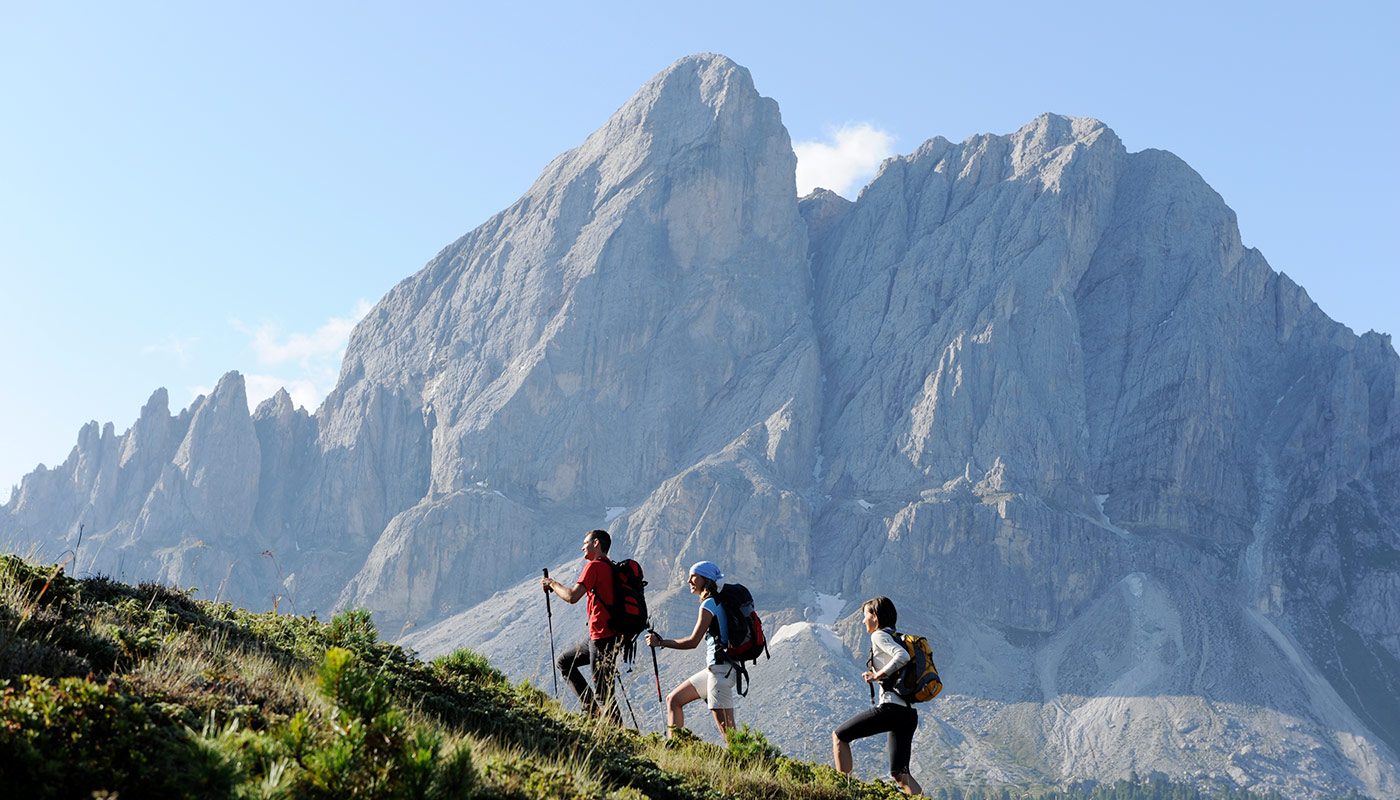 a group of hikers during a mountain hike in Hochpustertal/Alta Pusteria