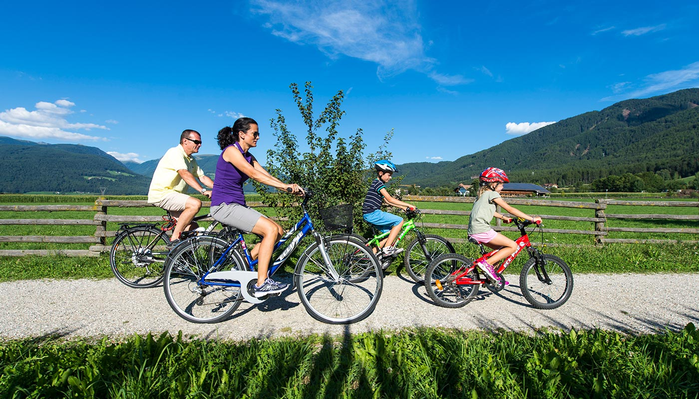 a family rides a cycle in Reischach on a summer day
