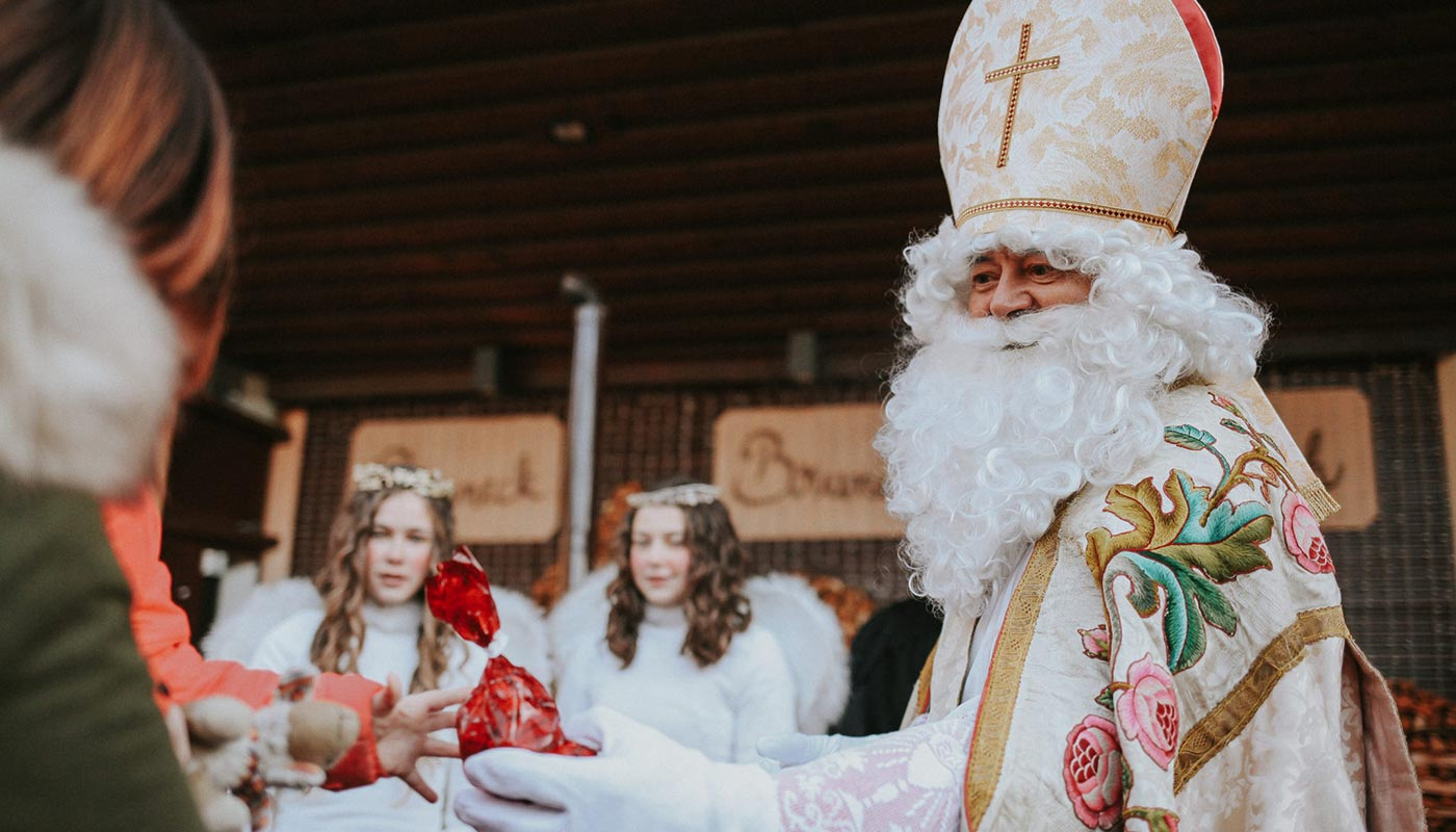Detail of St. Nicholas during the parade of December 5