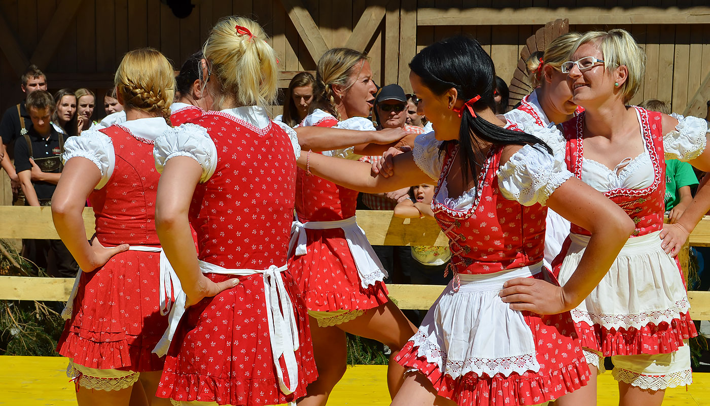 Girls in Tyrolean clothes during a typical dance